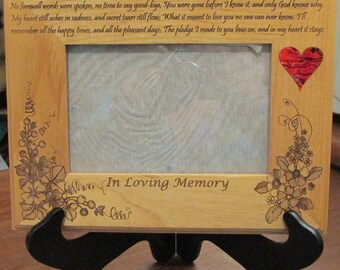 A picture frame that says what's in your heart: Alder wood Picure Frame Custom Laser Engraved with name and dates