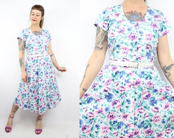 Vintage 90's Rose Floral Dress / 1990's Karin Stevens Spring Summer Floral Dress / Cotton / Women's Size Small