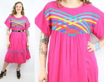 Vintage 80's Cotton Summer MUUMUU Dress / 1980's Rainbow Cotton Tent Dress / Women's Size Medium - Large - XL
