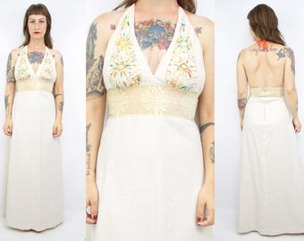 Vintage 70's Embroidered Halter Maxi Dress / 1970's Festival Dress / Flower Lace / Boho / Women's Size Small