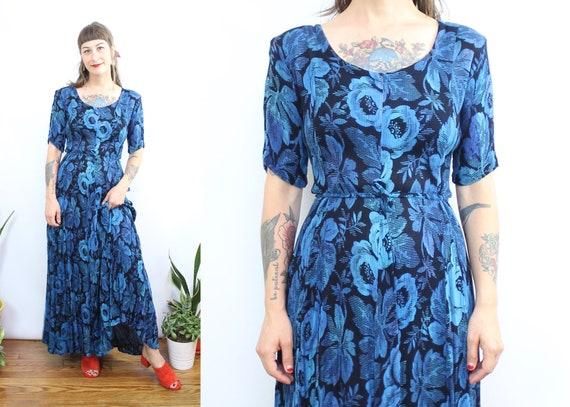 Vintage 90's Blue Floral Gauze maxi dress / 1990's
