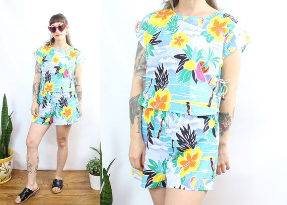 Vintage 80's Tropical Fruit Print Shorts and Cropp