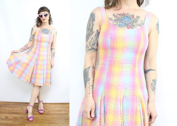 Vintage 90's rainbow Plaid Dress / 1990's Spring S
