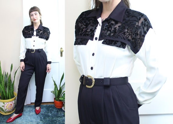 Vintage 90's Black and White Jumpsuit / 1990's Bla