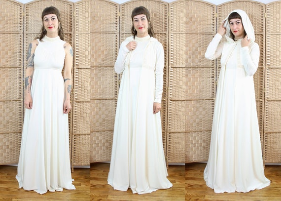 Vintage 70's Cream Maxi Dress with Hooded Jacket /