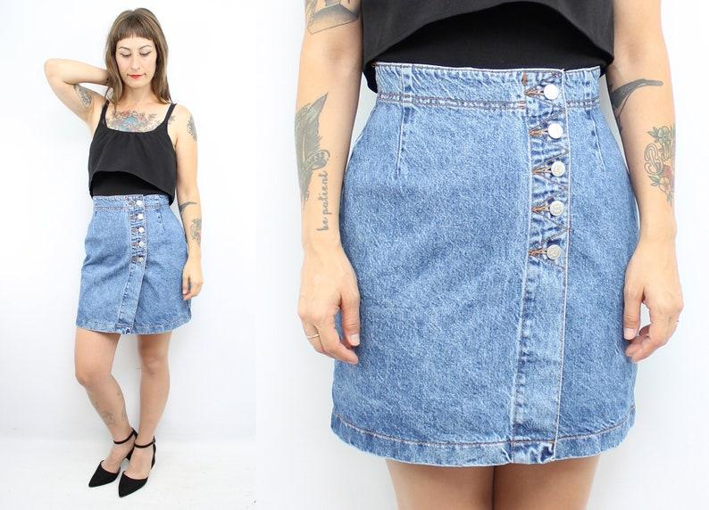 2430a83646 Vintage 90's Blue Denim High Waisted BONGO Mini Skirt | Etsy