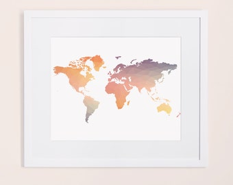 Colorful World Map Etsy - Colorful world map painting