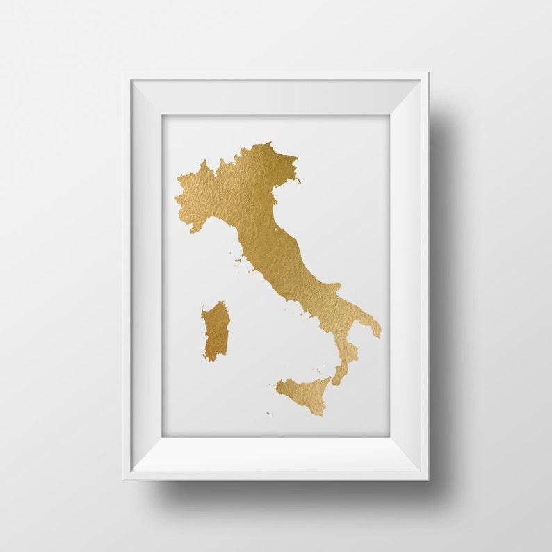 Goldfolie Italien Druckbare Karte Wandkunst Italien Karte Drucken Landkarte Druckbare Italienischen Plakatkunst Sofortiger Download Gold Karte