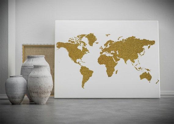 Gold World Map Wall Art.Gold World Map Printable Wall Art Gold Glitter World Map Etsy