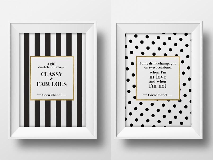 Coco Chanel wall Zitat Art druckbare typografische Poster   Etsy