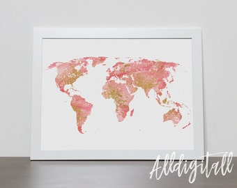 Gold and pink world map printable wall art gold glitter world map print world map poster printable world map abstract painting modern stroke