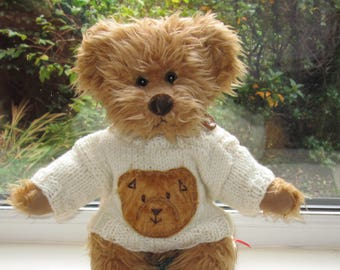 Teddy Bear Clothes Hand Knitted Cream Aran Faux Fur Teddy Face Motif Sweater/Jumper To Fit A 14 Inch Bear, Dolls Clothes, Ready To Ship/Post