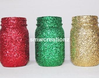Christmas Decor- Christmas Mason Jar Set of 3/ Christmas Mason Jars/ Christmas Decor/ Farmhouse Decor/ Party Decor