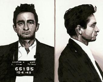 Johnny cash mugshot | Etsy