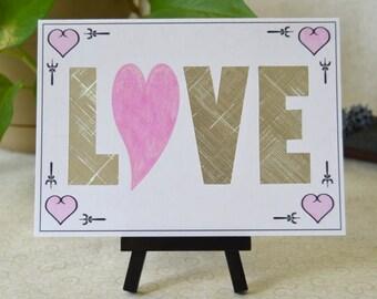 Shiny Silver Foil/Pink Sparkle 5x7 Love Valentine or Wedding Card
