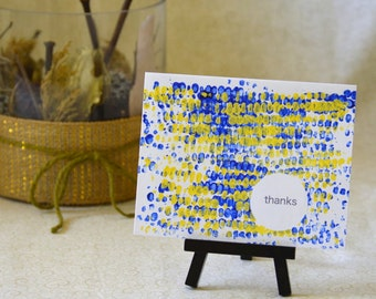 Blue/Yellow Corn-Stamped Thank You Note Card Set