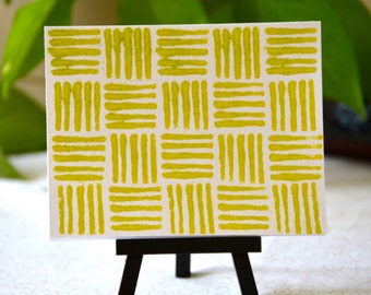 Yellow/Light Green Yarn Stamped Notecard Set