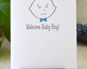 Baby Boy with Sparkle Bow Tie Baby Shower or New Baby Card