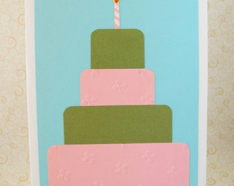 Tiered Birthday Cake 5x7 Birthday Card - Embossed