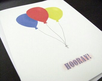 Hooray Balloons Birthday or Congratulations Card Set