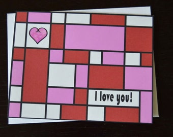 Red/Pink I Love You Card - Anniversary or Valentine