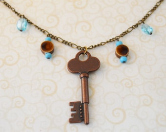 """Blue/Antique Brass Long 24"""" Key Pendant Necklace with Beads"""