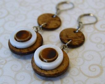 Brown/White Beaded Dangle Earrings