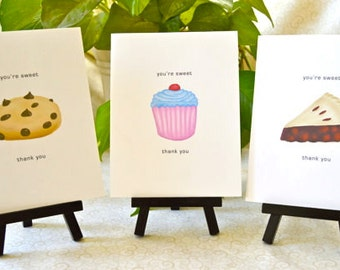 You're Sweet Thank You Notecard Set - Cupcake, Cookie, Pie