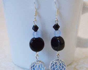 Blue/Black Beaded Earrings