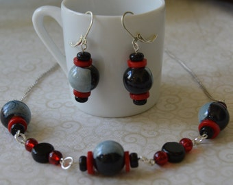 Red/Black Beaded Necklace and Earring Jewelry Set