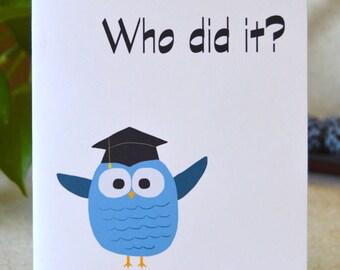 Cute Blue Owl 5x7 Graduation Card