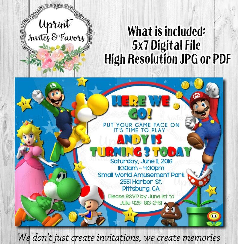 Super Mario Bro Con Yoshi Luigi Invitacion Invitacion Del Etsy