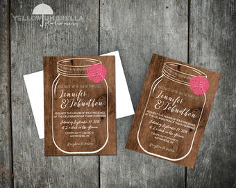 Mason Jar Wedding Invitation with Envelope - 5x7