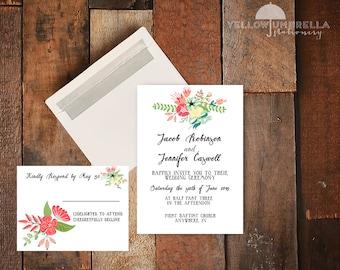 Vintage Floral Wedding Invitation with RSVP Card and Envelopes