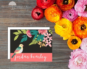 Beautiful Floral Bird Cads with Envelopes - Set of 12