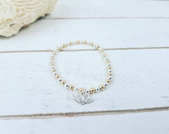 Lotus Bracelet • Beaded Bracelet • Sterling Silver Beads Bracelets • Gold filled Beads Bracelet • Stacking bracelet