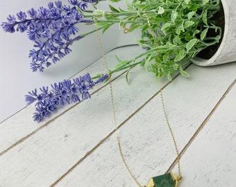 Aventurine necklace. Aventurine necklace. Green stone necklace. Aventurine stone Gold filled necklace. Healing stone. Relaxing stone