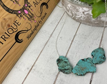 Turquoise Gemstone Sterling silver necklace. blue gemstone. Chajras Healing stone. Yoga necklace