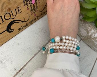Tasbeeh Tasbih Masbaha • Freshwater pearls tasbih • sterling silver tasbih • Turquoise tasbeeh • tasbih • 99 beads • Islamic prayer