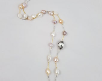 Freshwater Pearls Necklace - Long Necklace - Long pearl necklace - colorful pearl necklace  pearl gold filled necklace pearl silver necklace