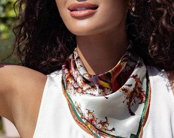 "Small Square Scarf, ""Versailles"" 16"" Silk Pocket Square, Neckerchief, purse scarf, retirement gift for woman"