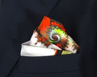 "Orange Green and White Pocket Square in pure silk, ""Theodorus"" silk handkerchief,  gift for husband, neckerchief"