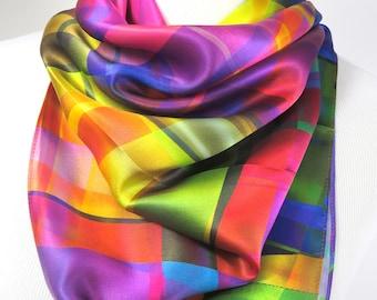 Silk Scarf, Womens Scarf Silk, Bright color Festival Scarf,  36 in Square Silk Satin