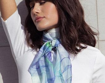 """White Square Scarf with Blue and Green """"Ink in Water"""" design. 36"""" Silk Chiffon gift for woman, sheer head scarf"""
