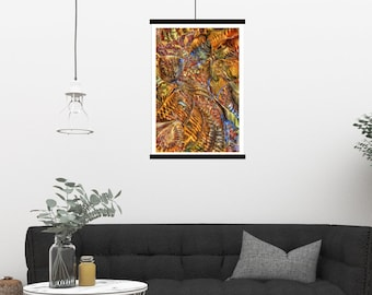 """Large Print, abstract Fractal Art, Giclée Print Wall Art Rolled and UNFRAMED, only one available """"Color Fountains"""""""