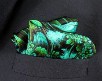 "Emerald Green Pocket Square in pure silk, ""Reaction"" silk handkerchief,  gift for husband, neckerchief"