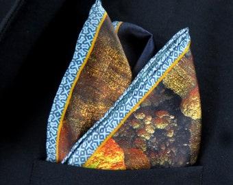 "Mens Silk Pocket Square, 3D Fractal Silk handkerchief, ""Cutaway"",  unique gifts for Men, Best Man, Boss gift, Boyfriend Husband gift"