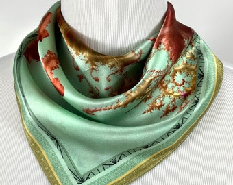 """Silk Neckerchief, """"Tidepool"""" Small 16"""" Square Scarf, Fractal Design, Christmas gifts for women, wrist scarf, purse scarf, friend gift"""