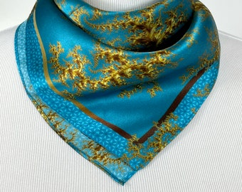 """Silk Neckerchief, """"Regency"""" Small 16"""" Square Scarf, Fractal Design, Christmas gifts for women, wrist scarf, purse scarf, friend gift"""