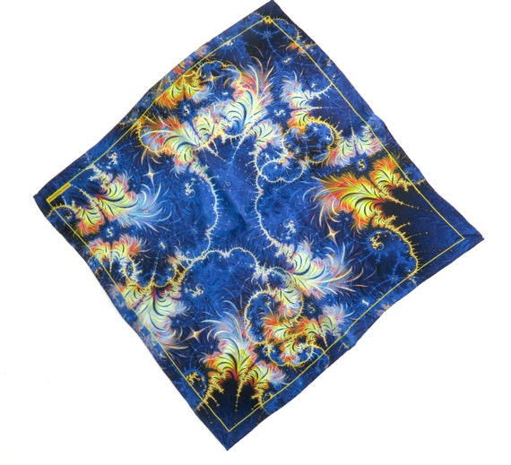Mens Silk Pocket Square Husband gift Tail of the Phoenix Fractal Design Silk handkerchief Unique gifts for Men